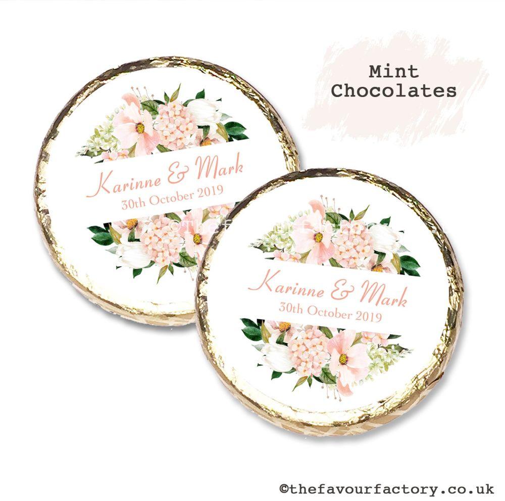 Wedding Mint Chocolates Personalised Blush Floral Frame x10