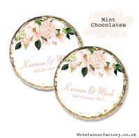 Wedding Mint Chocolates Personalised Blush Floral Drop x10