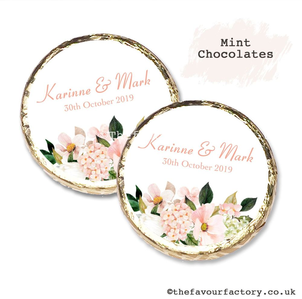 Wedding Mint Chocolates Personalised Blush Floral Bouquet x10