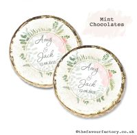 Wedding Mint Chocolates Personalised Botanical Gold Dust Roses x10