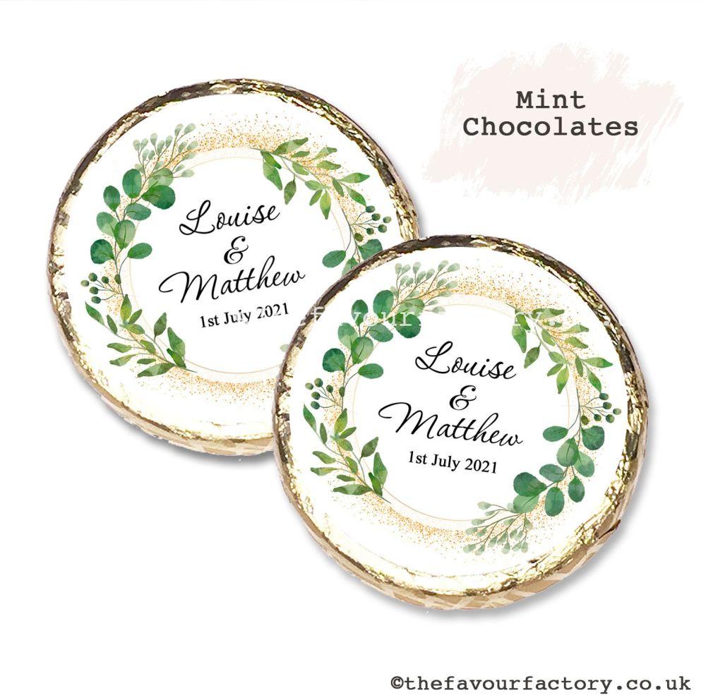 Wedding Mint Chocolates Personalised Botanical Gold Dust x10