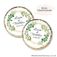 Wedding Mint Chocolates Personalised Botanical Gold Dust x10