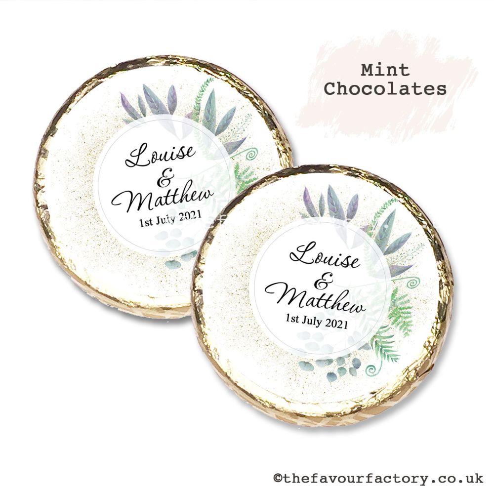 Wedding Mint Chocolates Personalised Botanical Romance x10