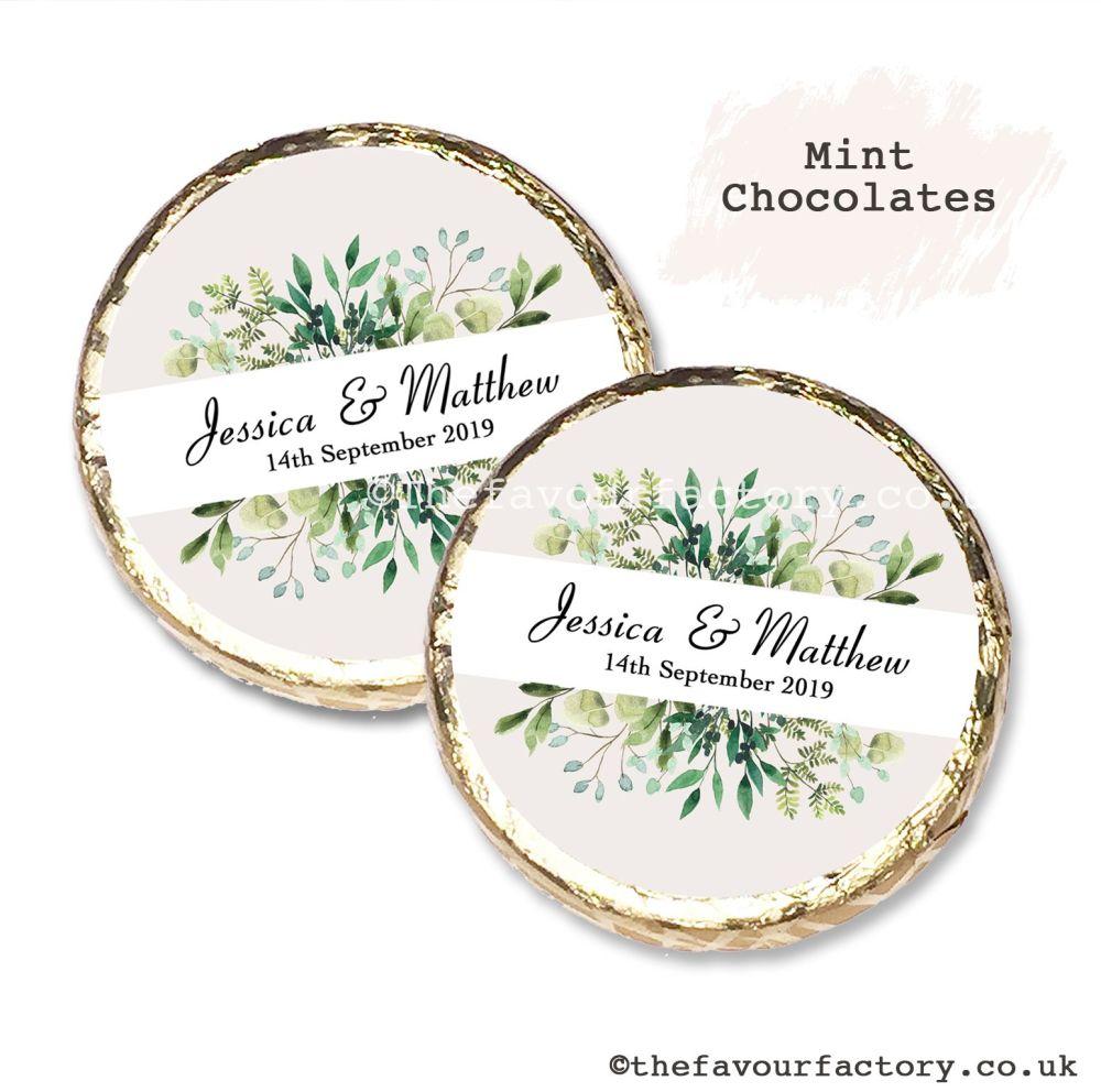 Wedding Mint Chocolates Personalised Botanical Leaves x10