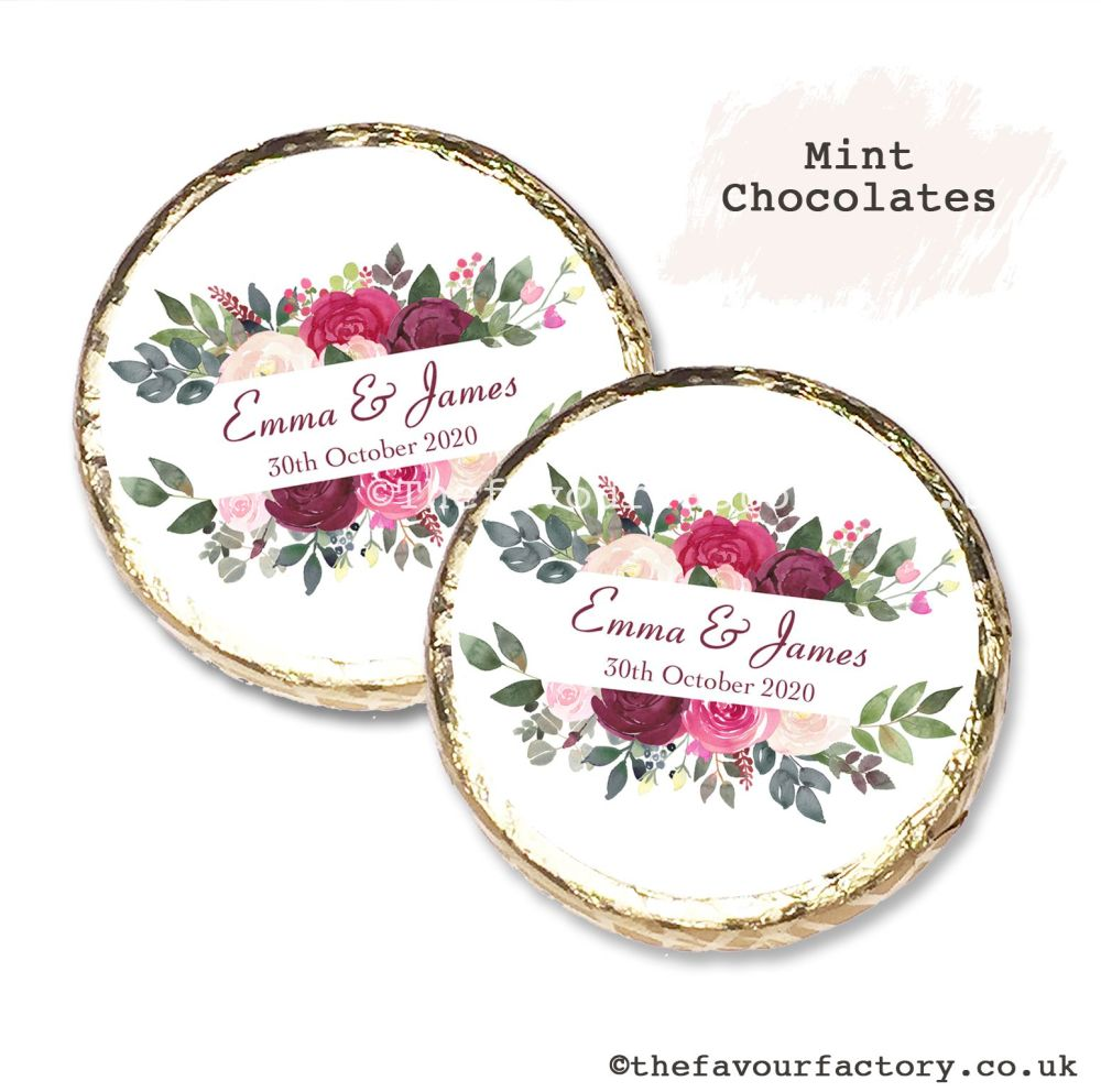 Wedding Mint Chocolates Personalised Burgundy Blush Floral Frame x10