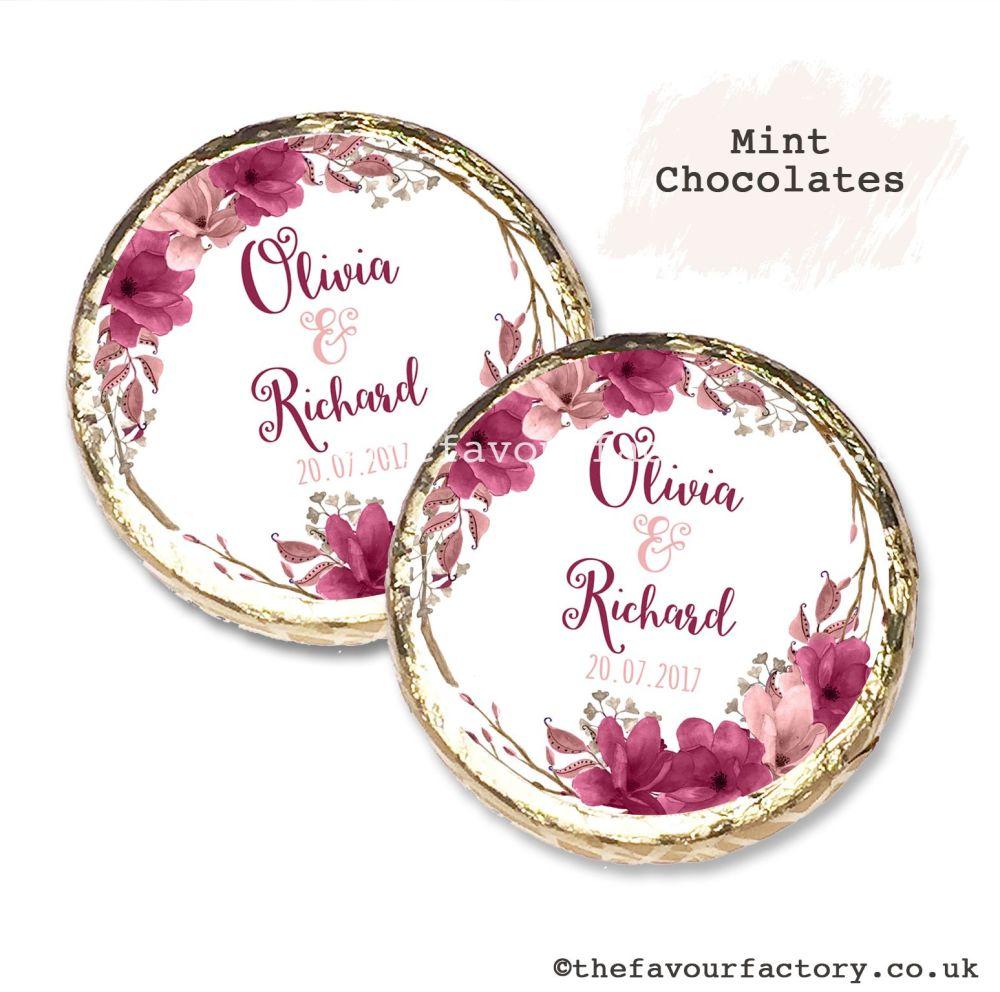 Wedding Mint Chocolates Personalised Burgundy Blush Floral Wreath x10