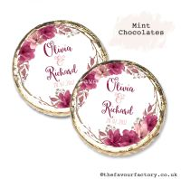 Wedding Mint Chocolates Personalised Burgundy Blush Floral Wreath x10