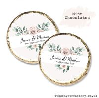 Wedding Mint Chocolates Personalised Floral Heart x10