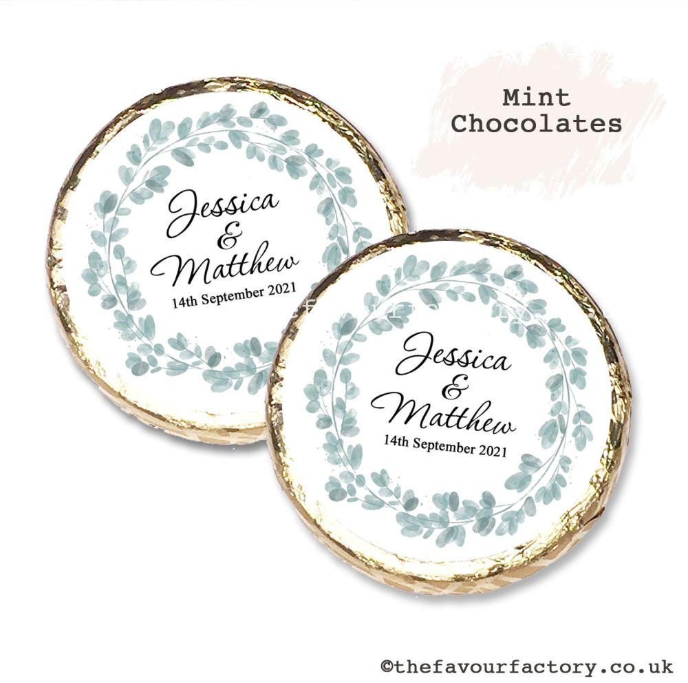 Wedding Mint Chocolates Personalised Botanical Eucalyptus Wreath x10