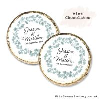 Wedding Mint Chocolates Personalised Botanical Eucalyptus Wreath x10