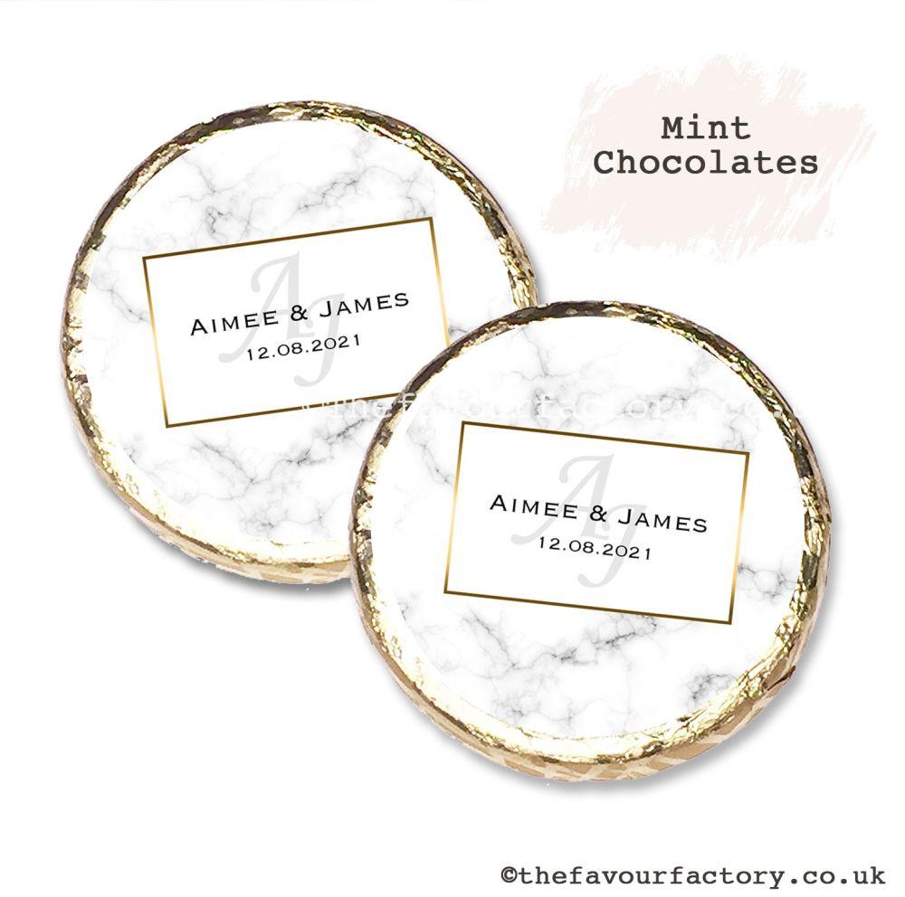 Wedding Mint Chocolates Personalised Marble Monogram x10