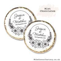 Wedding Mint Chocolates Personalised Black Line Art Floral Frame x10