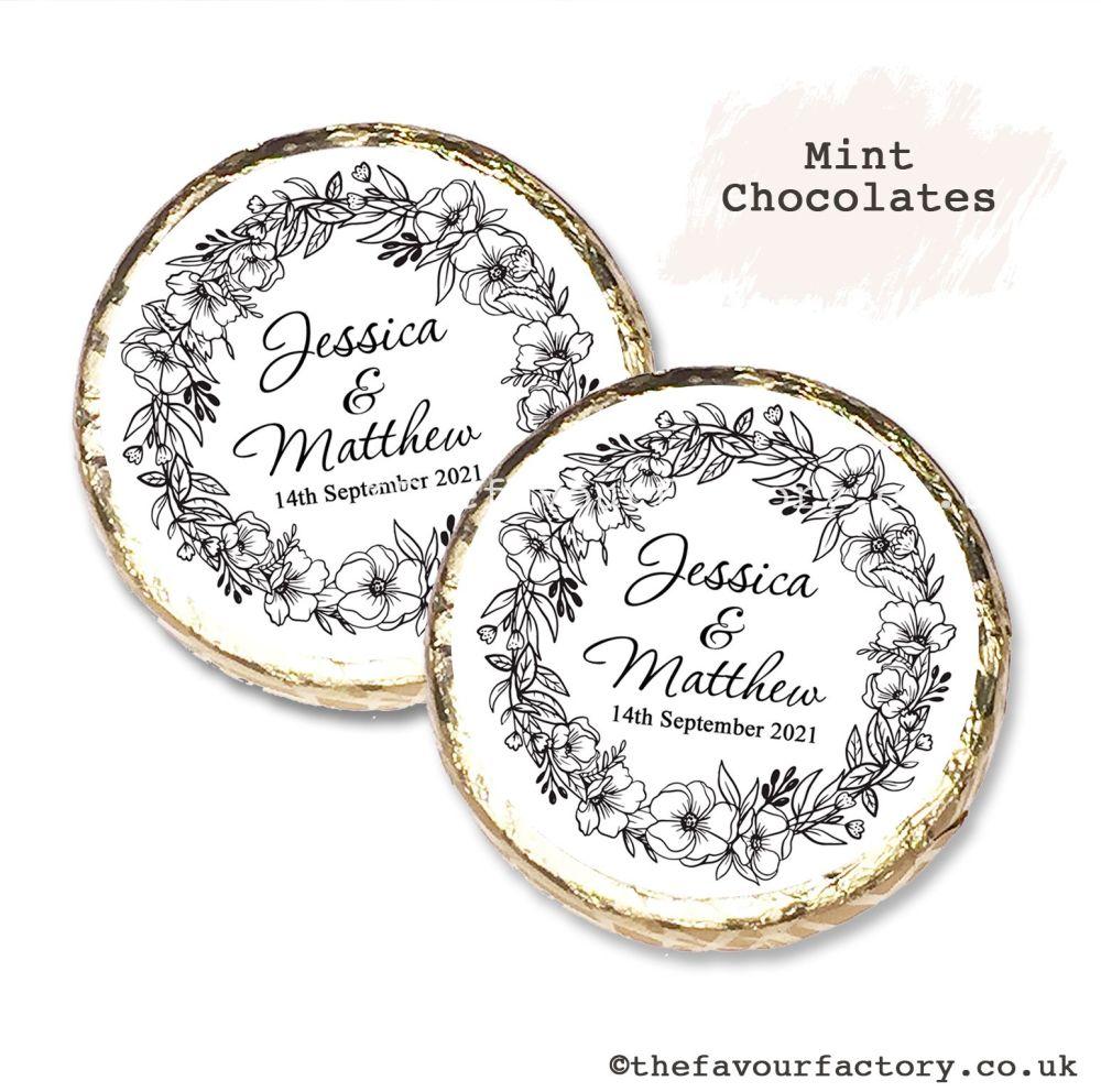 Wedding Mint Chocolates Personalised Black Line Art Floral Wreath x10