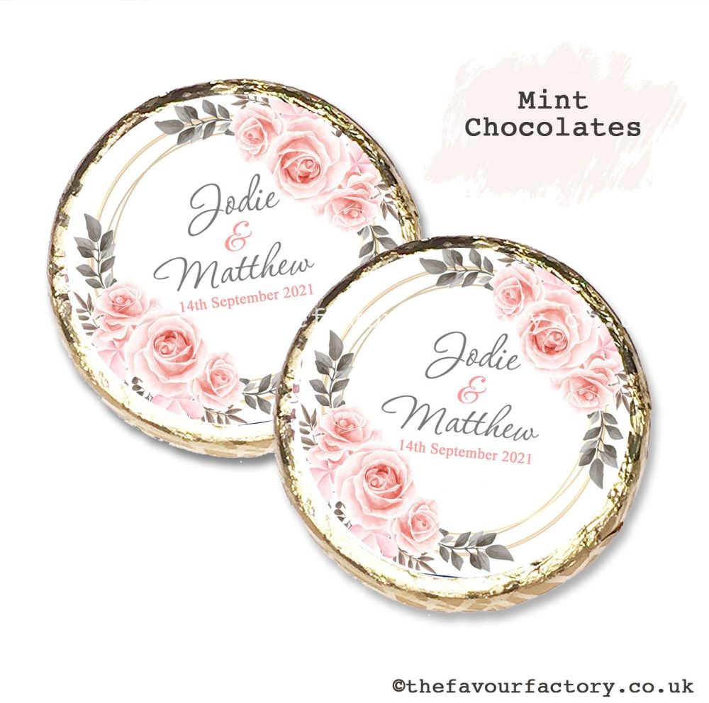 Wedding Mint Chocolates Personalised Blush Roses x10