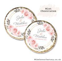 Wedding Mint Chocolates Personalised Blush Roses x10