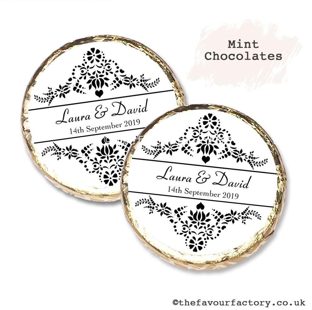 Wedding Mint Chocolates Personalised Elegance x10