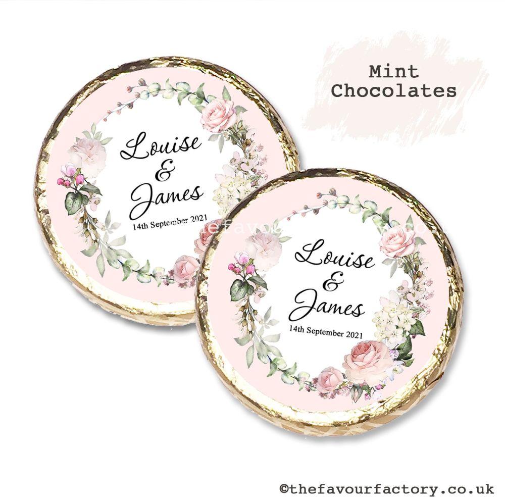 Wedding Mint Chocolates Personalised Vintage Floral Wreath x10