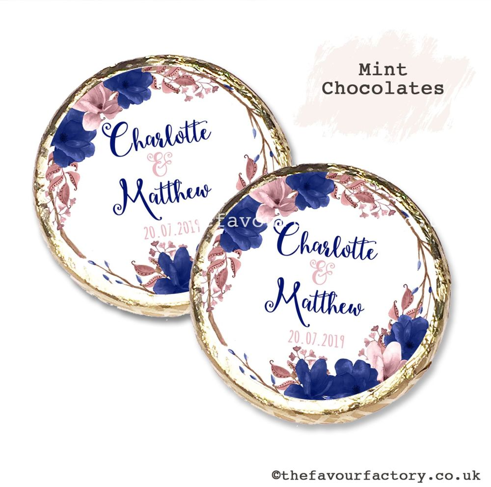 Wedding Mint Chocolates Personalised Navy Blush Floral Wreath x10