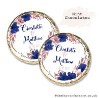 Wedding Mint Chocolates Personalised Navy Blush Floral Wreath x10