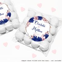 Wedding Sweet Bags Favour Kits Navy Blush Floral Wreath x12