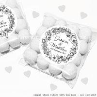 Wedding Sweet Bags Favour Kits Black Line Art Floral Wreath x12