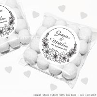 Wedding Sweet Bags Favour Kits Black Line Art Floral Frame x12