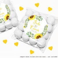 Wedding Sweet Bags Favour Kits Sunflowers Wreath x12