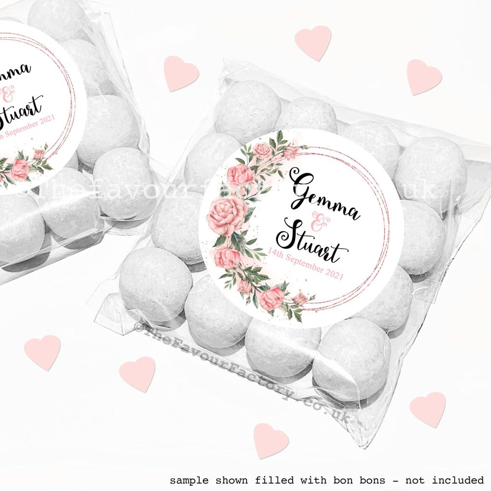 Wedding Sweet Bags Favour Kits Rose Gold Floral Frame x12