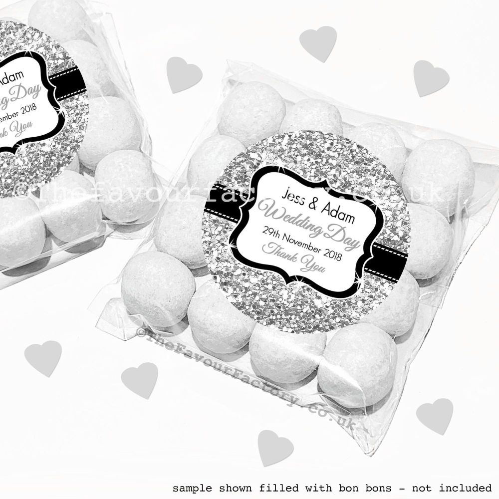 Wedding Sweet Bags Favour Kits Silver Glitter x12