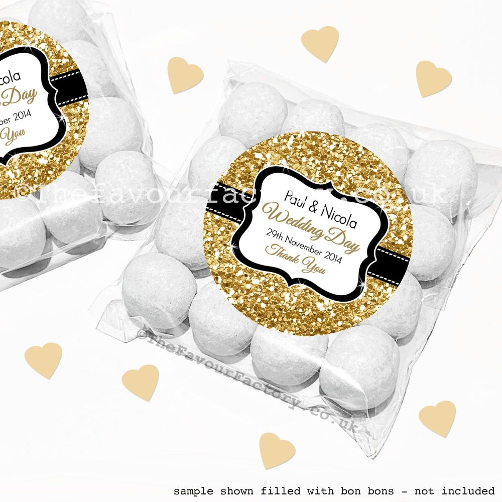 Wedding Sweet Bags Favour Kits Gold Glitter x12