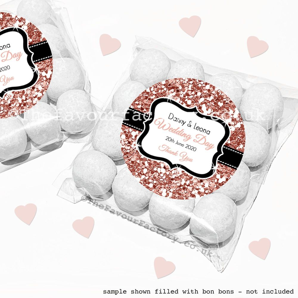 Wedding Sweet Bags Favour Kits Rose Gold Glitter x12