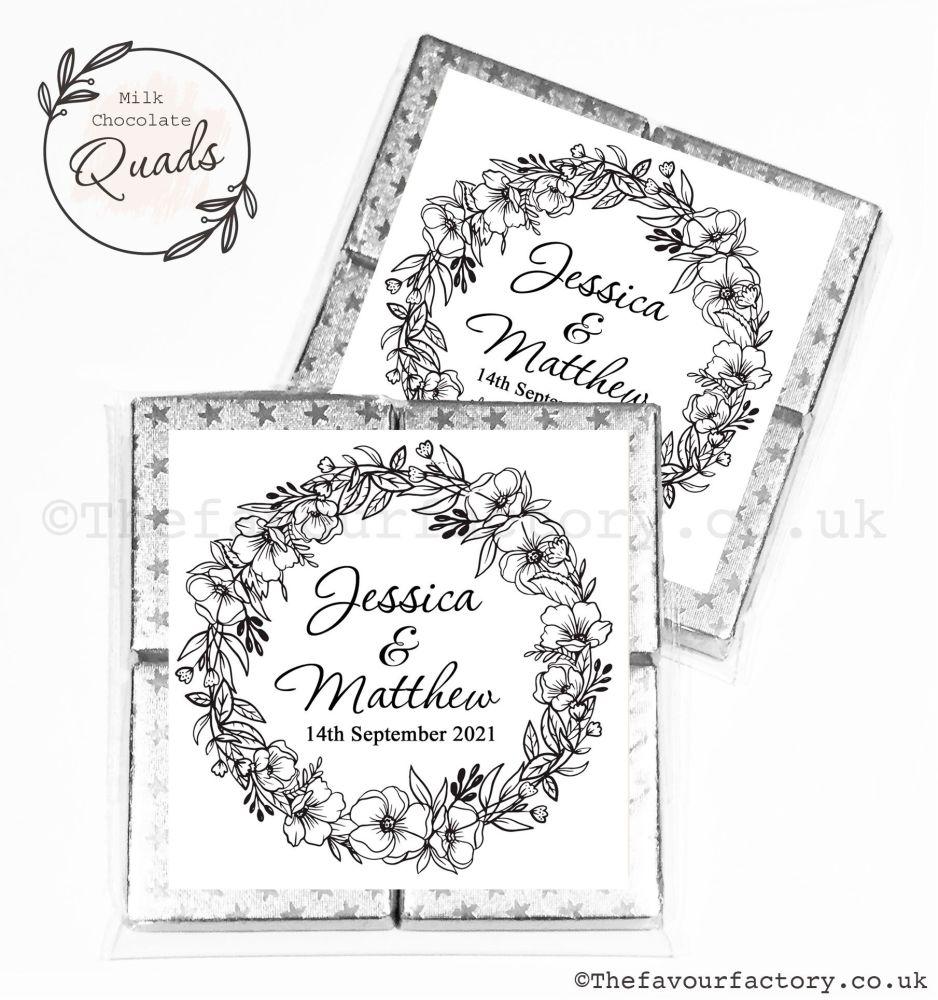 Wedding Favours Chocolate Quads Black Line Art Floral Wreath x1