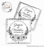 Wedding Favours Chocolate Quads Black Line Art Floral Frame x1