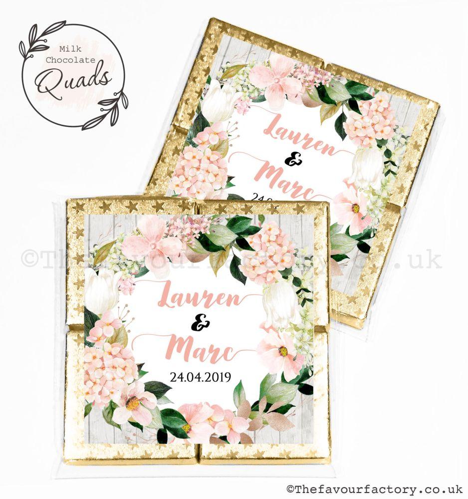 Wedding Favours Chocolate Quads Blush Hydrangeas x1