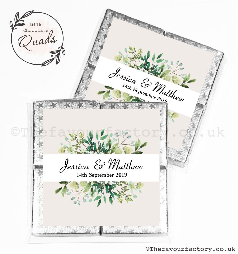 Wedding Favours Chocolate Quads Botanical Leaves x1
