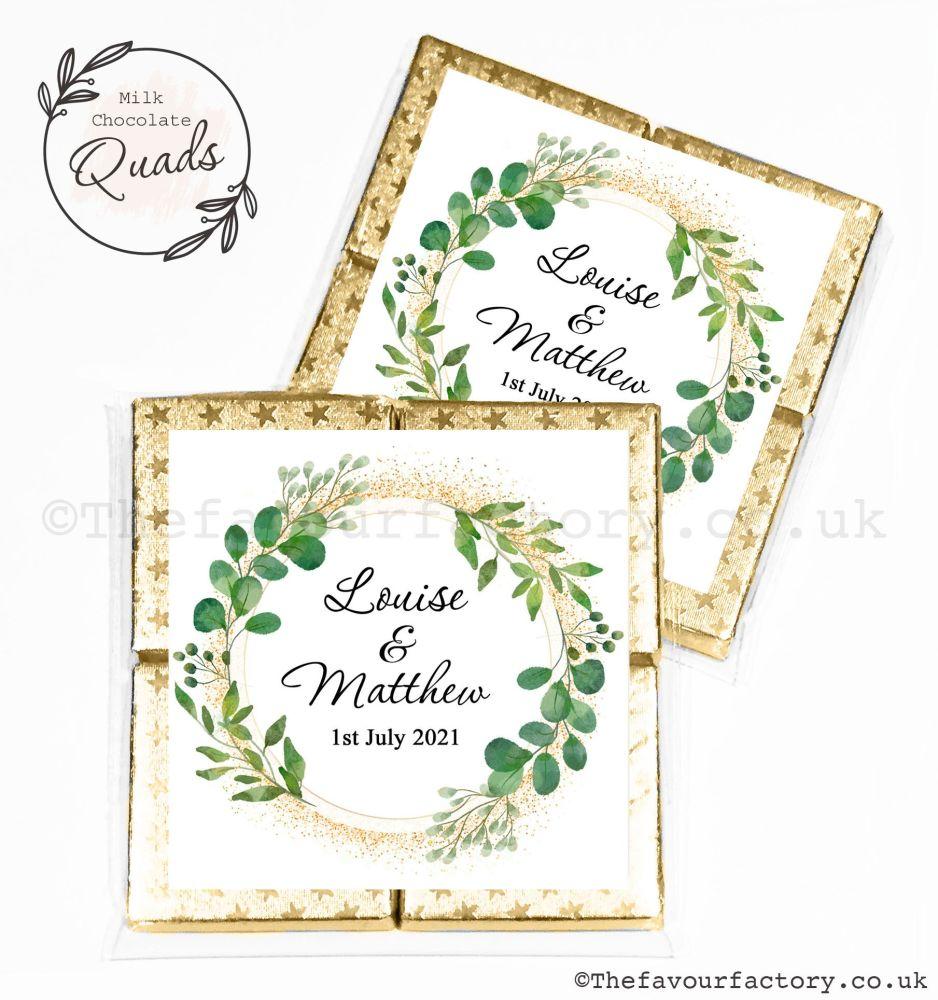 Wedding Favours Chocolate Quads Botanical Gold Dust x1