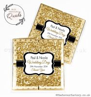Wedding Favours Chocolate Quads Gold Glitter x1