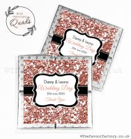 Wedding Favours Chocolate Quads Rose Gold Glitter x1