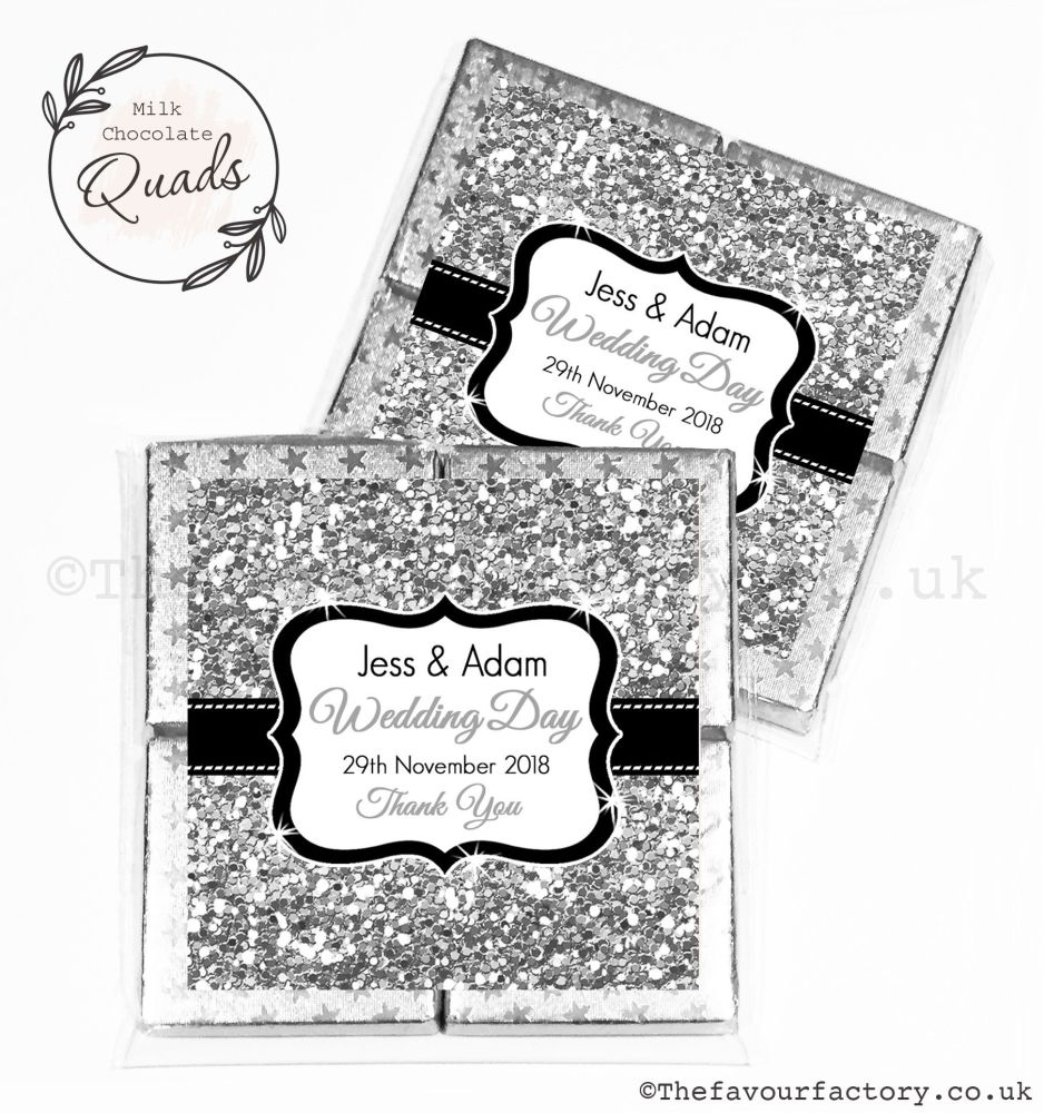 Wedding Favours Chocolate Quads Silver Glitter x1