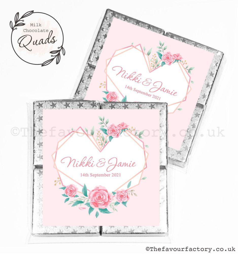 Wedding Favours Chocolate Quads Geometric Floral Heart x1
