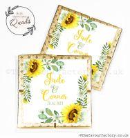 Wedding Favours Chocolate Quads Sunflower Wreath x1