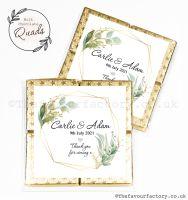 Wedding Favours Chocolate Quads Geometric Botanicals x1