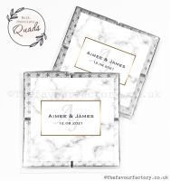 Wedding Favours Chocolate Quads Marble Monogram x1