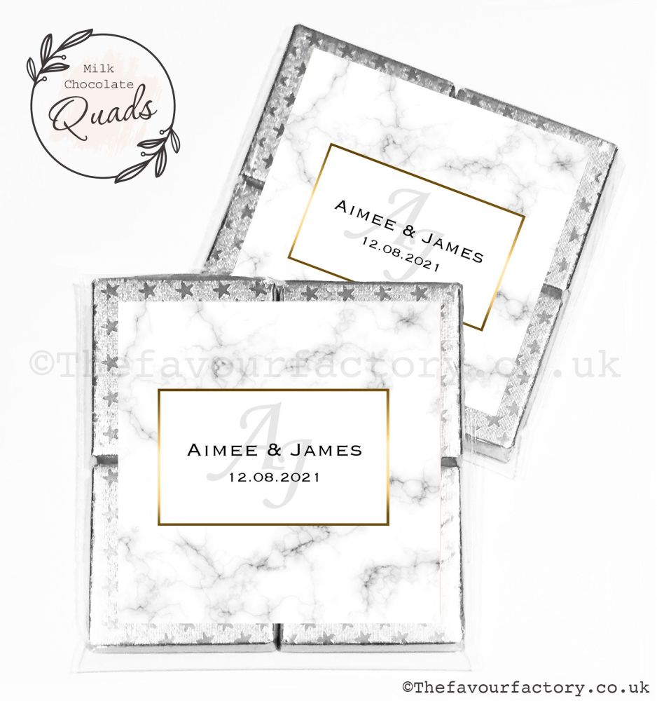 Wedding Favours Chocolate Quads Marble Monogram x1