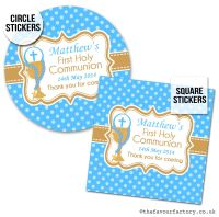 Communion Stickers Personalised Blue Chalice & Beads x1 A4 Sheet.