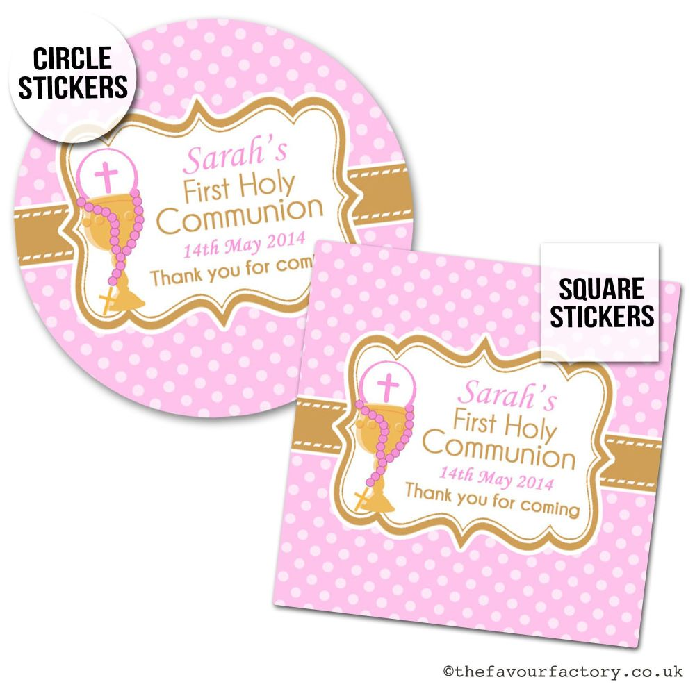Communion Stickers Personalised Pink Chalice & Beads x1 A4 Sheet.