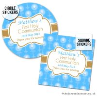Communion Stickers Personalised Blue Beads & Candles x1 A4 Sheet.