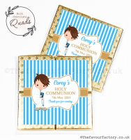 Communion Chocolate Quads Favours Brown Hair Boy x1