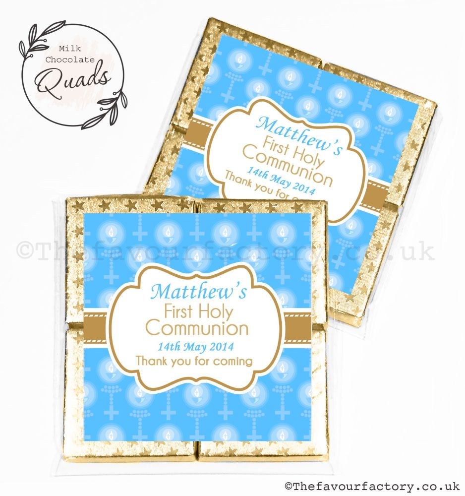 Communion Chocolate Quads Favours Blue Beads And Candles x1