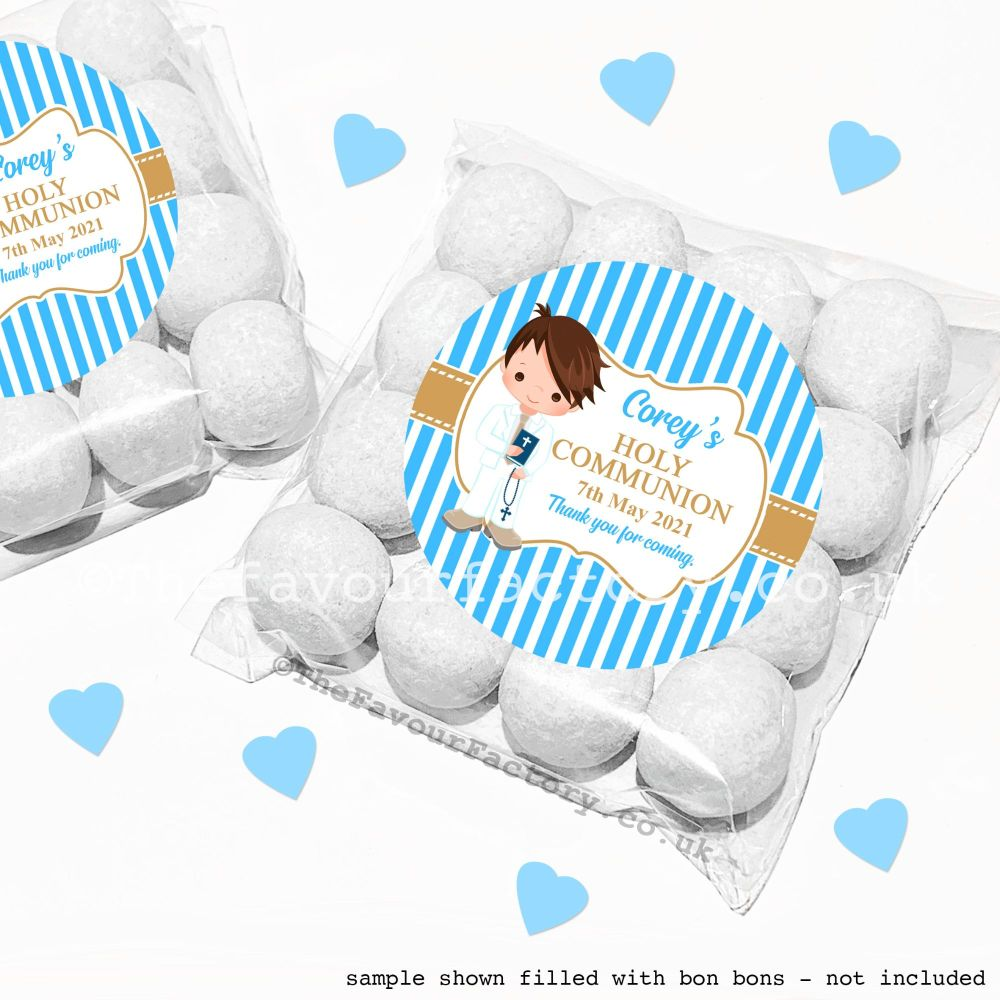 Holy Communion Sweet Bags Kits Brown Hair Boy x12